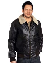 Front Pocketed Leather Bomber for Men