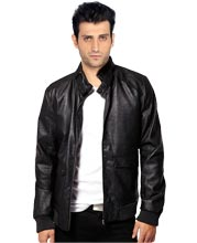 Peppy Bomber leather Jacket with Stud Collar