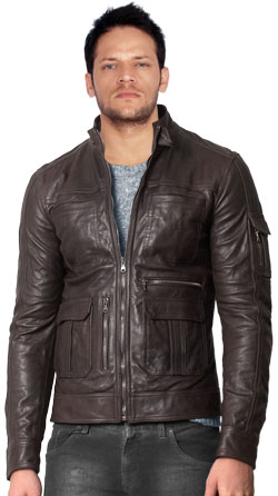 Leather Bomber jacket with Buttoned Cuff Feature