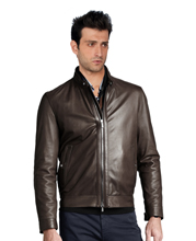 Ribbed Hemline Bomber Leather Jacket