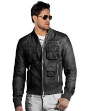 Three Pocketed Bomber Leather Jacket