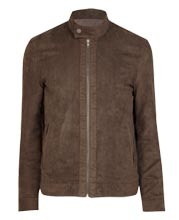 Buttoned Collar Suede Bomber Leather Jacket for Men