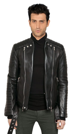 Zippered Lapel Mens Leather Bomber Jacket