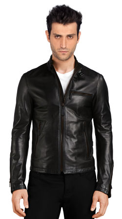 Stand Collar Leather Bomber Jacket for Men