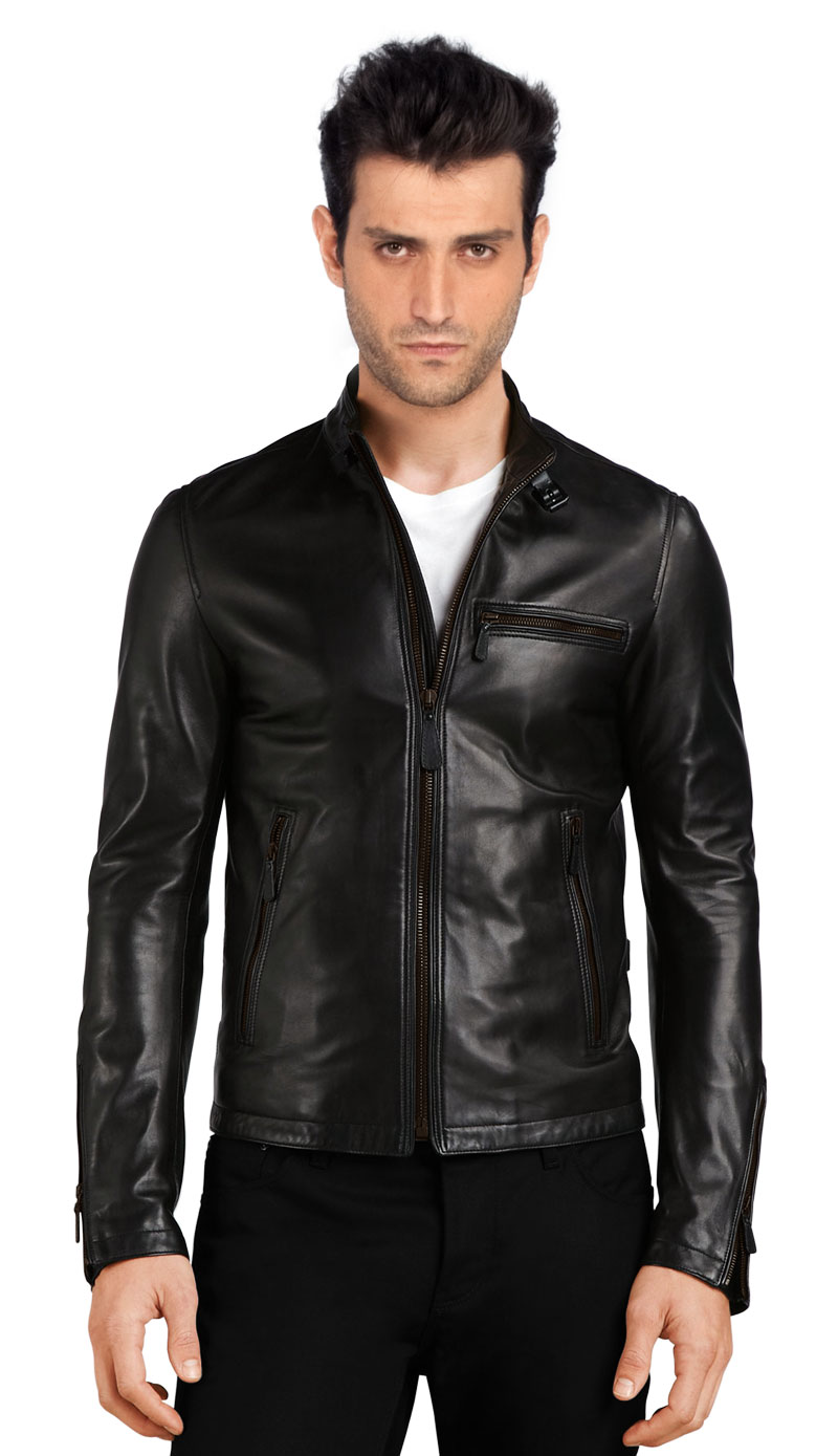 Shop for stand collar leather bomber jacket for men online