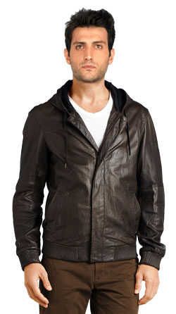Bomber Leather Jacket with Hood for Men