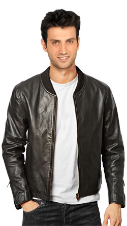 Bomber Leather Jacket for Men with Band Collar