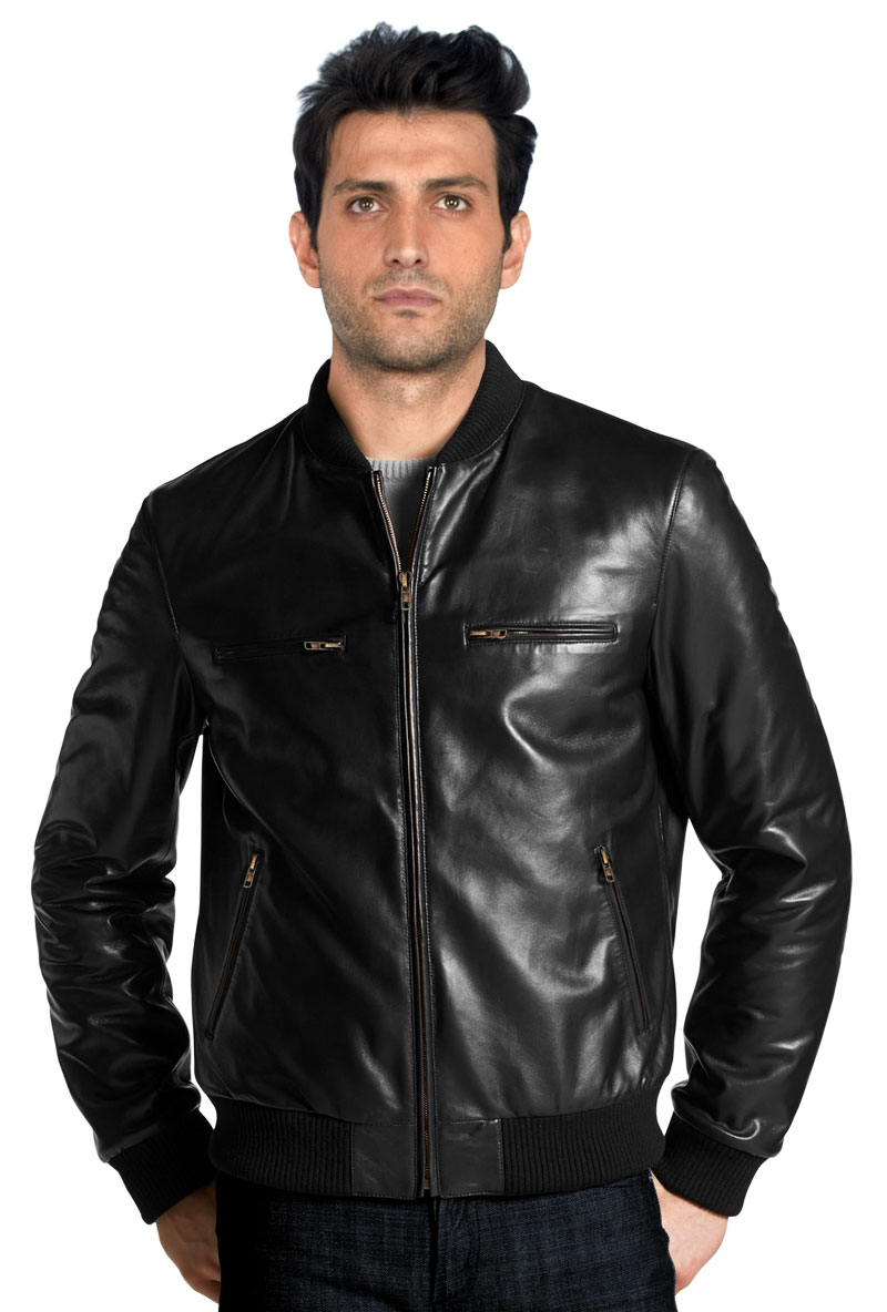 Shop for simple and elegant mens leather bomber jacket online
