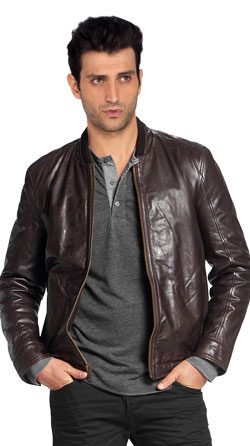 Supple Leather Bomber Jacket with a Band Collar