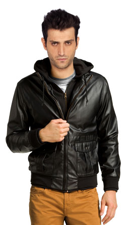 Leather Bomber Jacket with Snap Flap Pockets