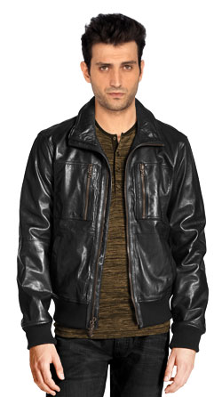 Leather Bomber Jacket with Zip Chest Pockets