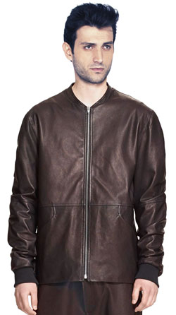 Collarless Trim Fitted Leather Bomber Jacket