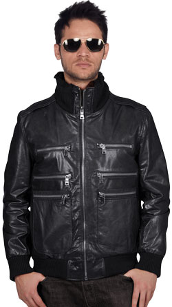 Triple Knit Stand Collar Leather Bomber Jacket