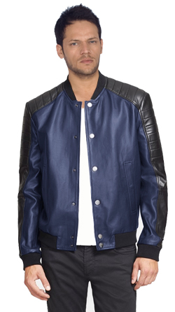 Mens Leather Bomber with Quilted Shoulder Panels