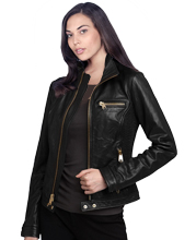 Soft Lambskin Womens Leather Bomber Jacket