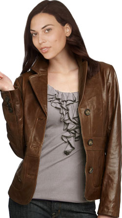 Fashionable Polyester Lining Womens Leather Bomber Jacket