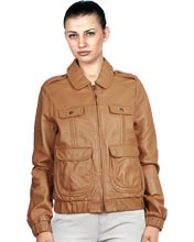 Elastic Bottom Leather Bomber Jacket for Women