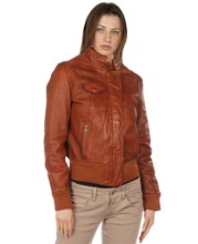 Chinese Collar Womens Leather Bomber Jacket