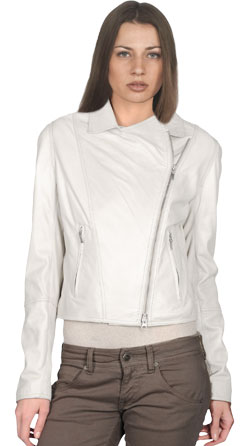Asymmetrical Zipper Womens Leather Bomber Jacket