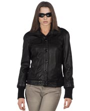 Light-Weight Knit Womens Leather Bomber Jacket