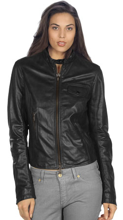 Stunning Zippered Cuffs Womens Leather Bomber Jacket