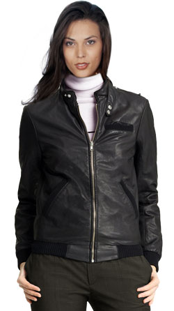 Ecstatic Zippered Leather Bomber Jacket