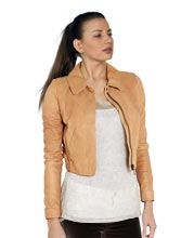 Cool Mini Length Leather Bomber Jacket