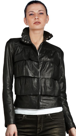 Cupcake Layered Leather Bomber jacket