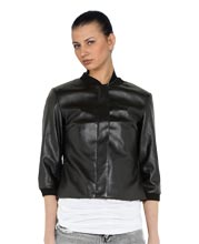 Short-Sleeved Trimmed Leather Bomber Jacket