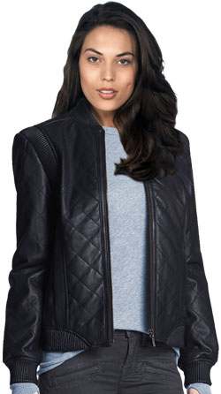 Leather Bomber Jacket with a Quilted Pattern