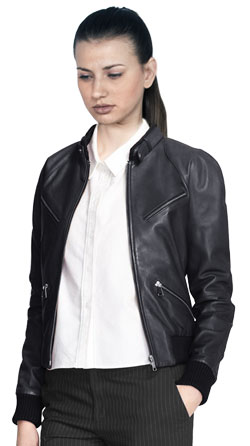 Chic Formal Leather Jacket with Angled Pockets