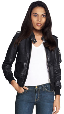Bomber Leather Jacket with Epaulets for Women