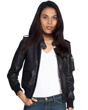 Bomber-leather-jacket-with-epaulets-for-women