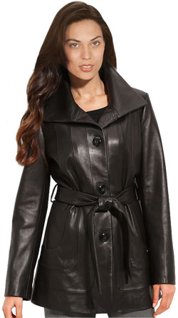 Wing collar front button closure leather coat for women