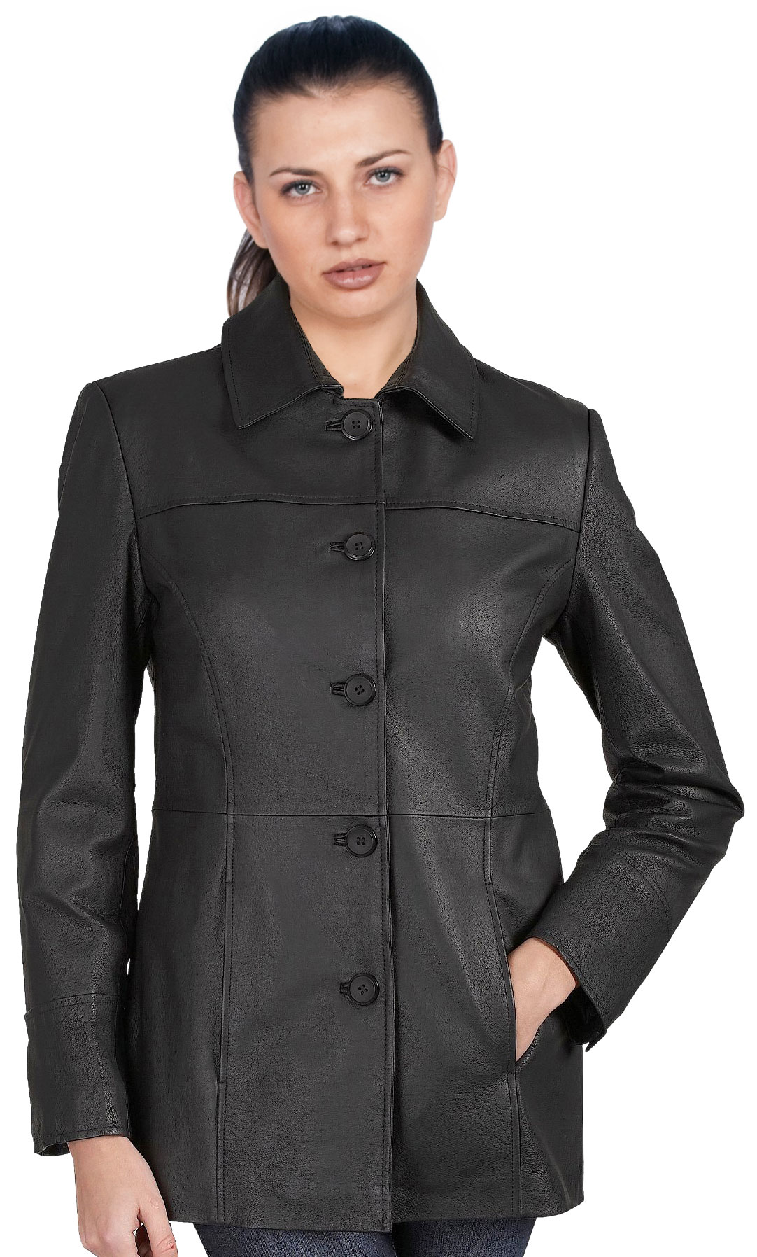 Buy five button closure womens leather car coats online