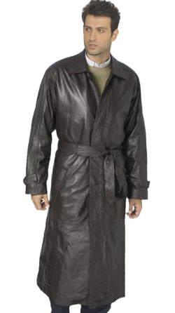 Suave Full-length Leather Trench Coat for Men