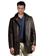 Trench style Napoleonic Leather Coat for Men