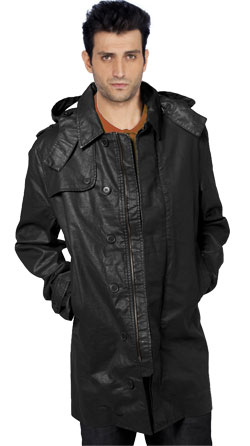 Cape style and hooded mens leather coat