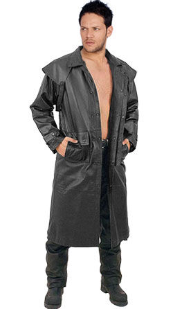 Knee length Cape styled mens leather coat