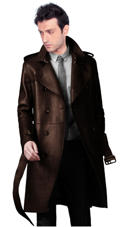 Heritage Soft lambskin leather trench coat for men