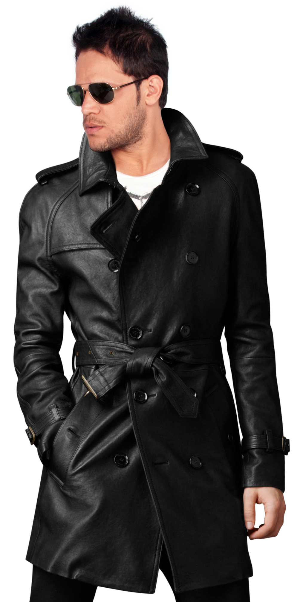 Buy raglan sleeved cozy mens leather trench coat online