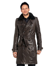 Modish Belted Leather Trench coat for men