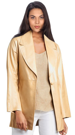Lightweight leather swing coat with extra sheen and brilliance