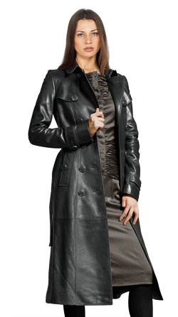Leather trench coat with multiple buttons for high definition look