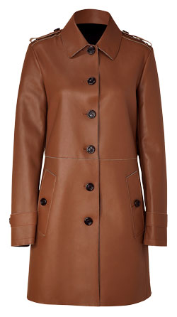 Formal Push-Button Leather Coat for Women