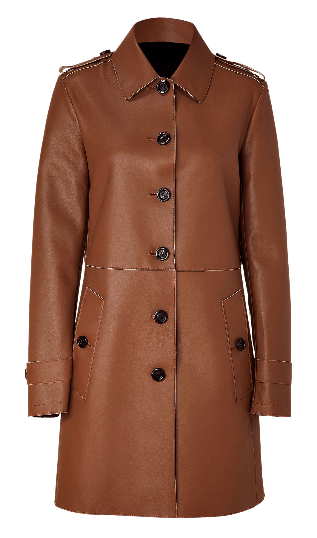 Buy formal push-button leather coat for women