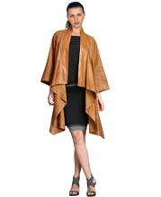 Funky Cocktail Style Frilled Leather Coat