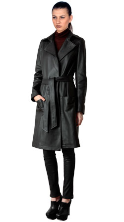 Modish Leather Coat with Self Adjustable Belt