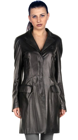 V-Neck Pleated Leather Coat