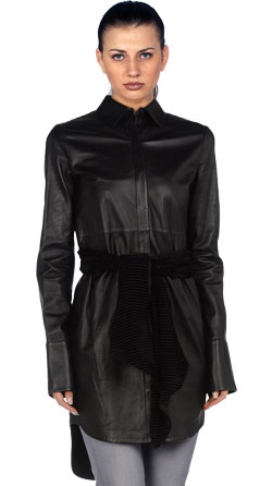 Chenille Formal Leather Coat For Women